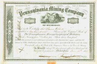 1861 Pennsylvania Mining Company Of Michigan Stock Certificate photo