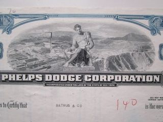 Vintage 1965 Phelps Dodge Stock Certificate.  Strip Mine Vignette.  Mining 1960s photo
