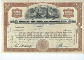 1925 Durant Motors,  Inc.  Capital Stock Certificate - Gm Chevrolet Flint Lansing photo