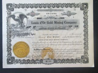 Stock Certificate 500 Shares Louis D ' Or Gold Mining Co Arizona 1912,  Crisp Paper photo