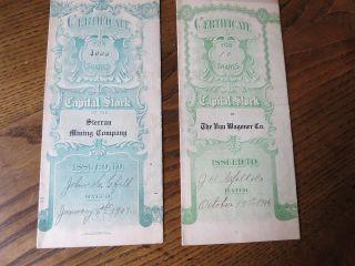 Two 1906 - 07 Capital Stock Certificate Sierran Mining Co Az,  Van Wagoner Co.  Mi. photo