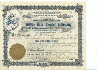 1903 Bisbee Belle Copper Company - Arizona Territory - 1,  000 Shares photo