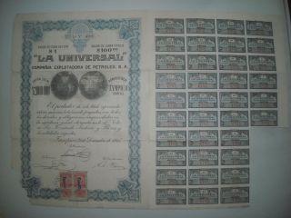 Rare 1915 Mexican Petroleum Bond/shares,  Uncancelled Coupons