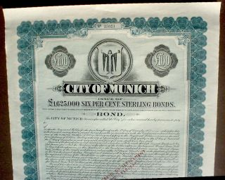 6 City Of Munich 100 Pound Sterling 1953,  Uncancelled photo
