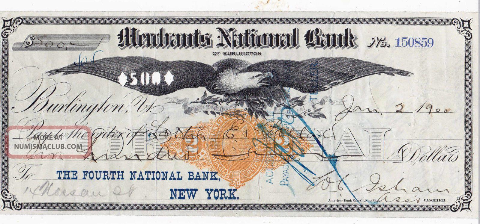 1900 Burlington,  Vermont.  Merchants National Bank Eagle Vignette Stocks & Bonds, Scripophily photo