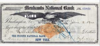 1900 Burlington,  Vermont.  Merchants National Bank Eagle Vignette photo