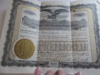 American Gold Dredging Corp 1929 Preferred Stock Certificate 419 photo