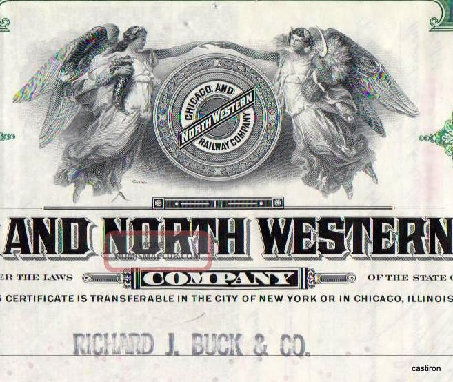1952 Green Chicago & North Western Railway Company Stock Certificate Railroad Transportation photo