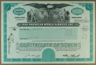 S1109 Pan Am World Airways Inc Stock Certificate Aqua photo