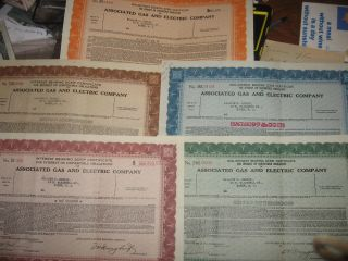 1936 Associated Gas And Electric Company 5 Different Certificates York Scrip photo