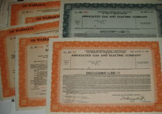 6x Associated Gas And Electric Corporation 1931 & 1937 Warrants And Scrips Ny photo
