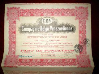 Venezuela - Belgium Compagnie Belgo - Vénezuelienne 1928,  Share Certificate photo