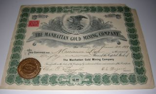 1899 Manhattan Gold Mining Co Stock Cert Nevada Mines Issued Uncancelled photo