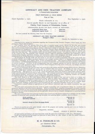 Prospectus,  Conneaut & Erie Traction Co. ,  Re Tax Bond Issue,  1902 W/map photo