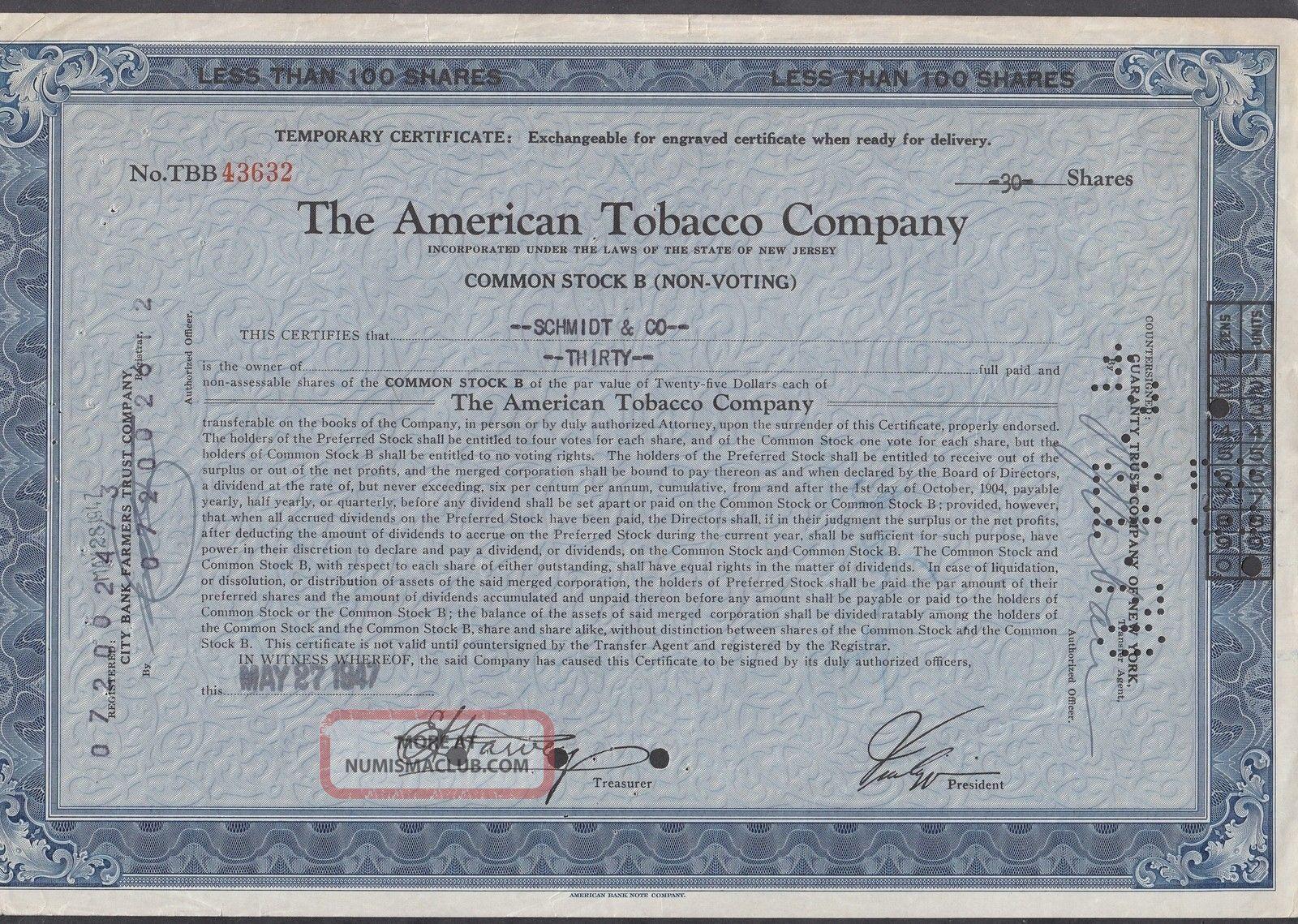 United States 1947 Ornate Bond Certificate The American Tobacco Co. .  R3342 World photo