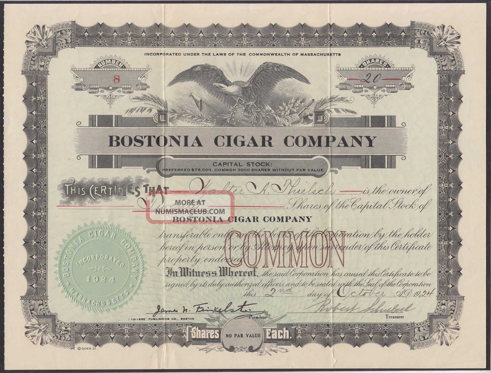 United States 1924 Ornate Tobacco Bond Certificate Bostonia Cigar Company.  R3337 World photo