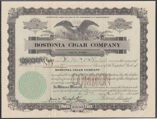 United States 1924 Ornate Tobacco Bond Certificate Bostonia Cigar Company.  R3337 photo