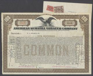 United States 1922 Ornate Bond With Revenue American Sumatra Tobacco Co.  R4073 photo