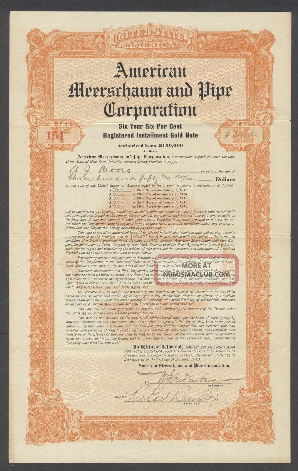 United States 1913 Ornate Bond Certificate American Meerschaum & Pipe Co.  R4072 World photo