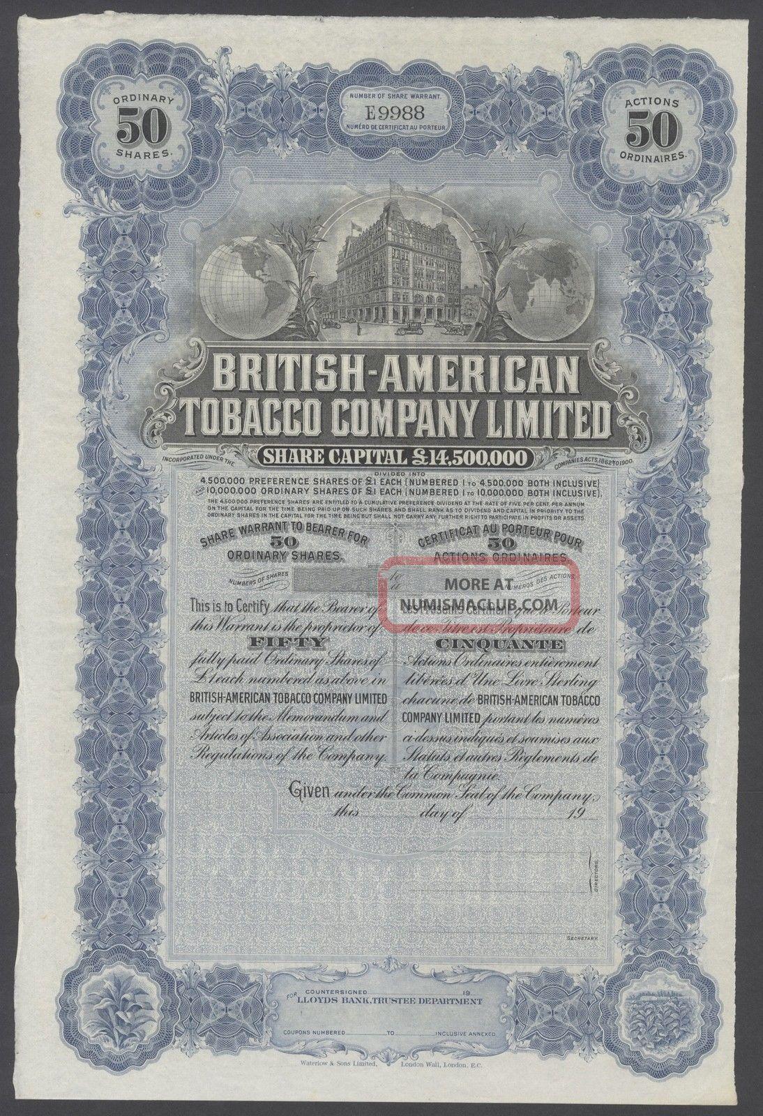 United States 1900s Uncirculated Ornate Bond British - American Tobacco Co.  R3336 World photo