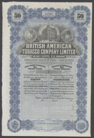 United States 1900s Uncirculated Ornate Bond British - American Tobacco Co.  R3336 photo