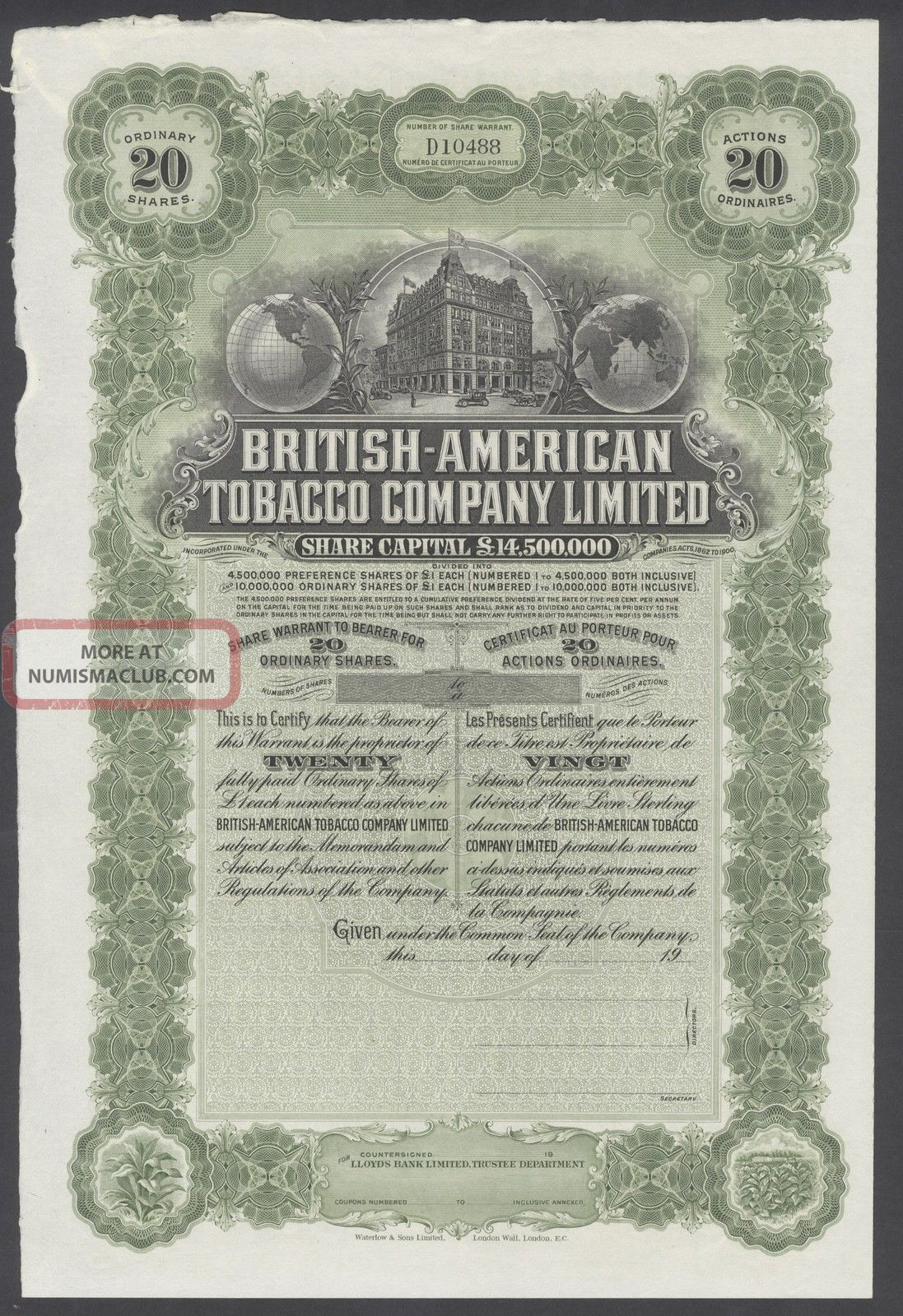 United States 1900s Uncirculated Ornate Bond British - American Tobacco Co.  R3335 World photo