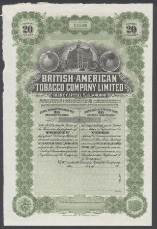 United States 1900s Uncirculated Ornate Bond British - American Tobacco Co.  R3335 photo
