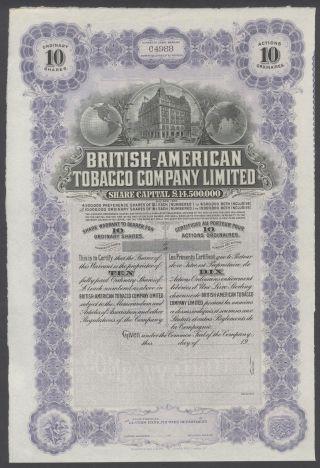United States 1900s Uncirculated Ornate Bond British - American Tobacco Co.  R3334 photo