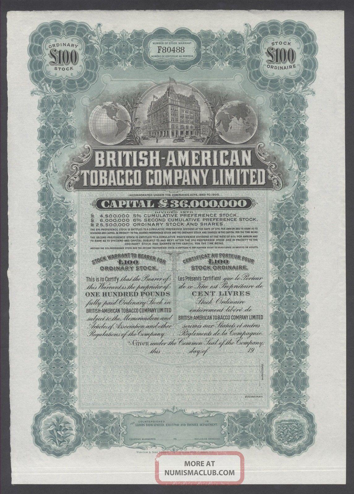 United States 1900s Uncirculated Ornate Bond British - American Tobacco Co.  R3333 World photo