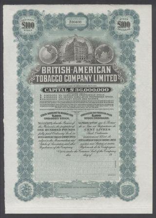 United States 1900s Uncirculated Ornate Bond British - American Tobacco Co.  R3333 photo