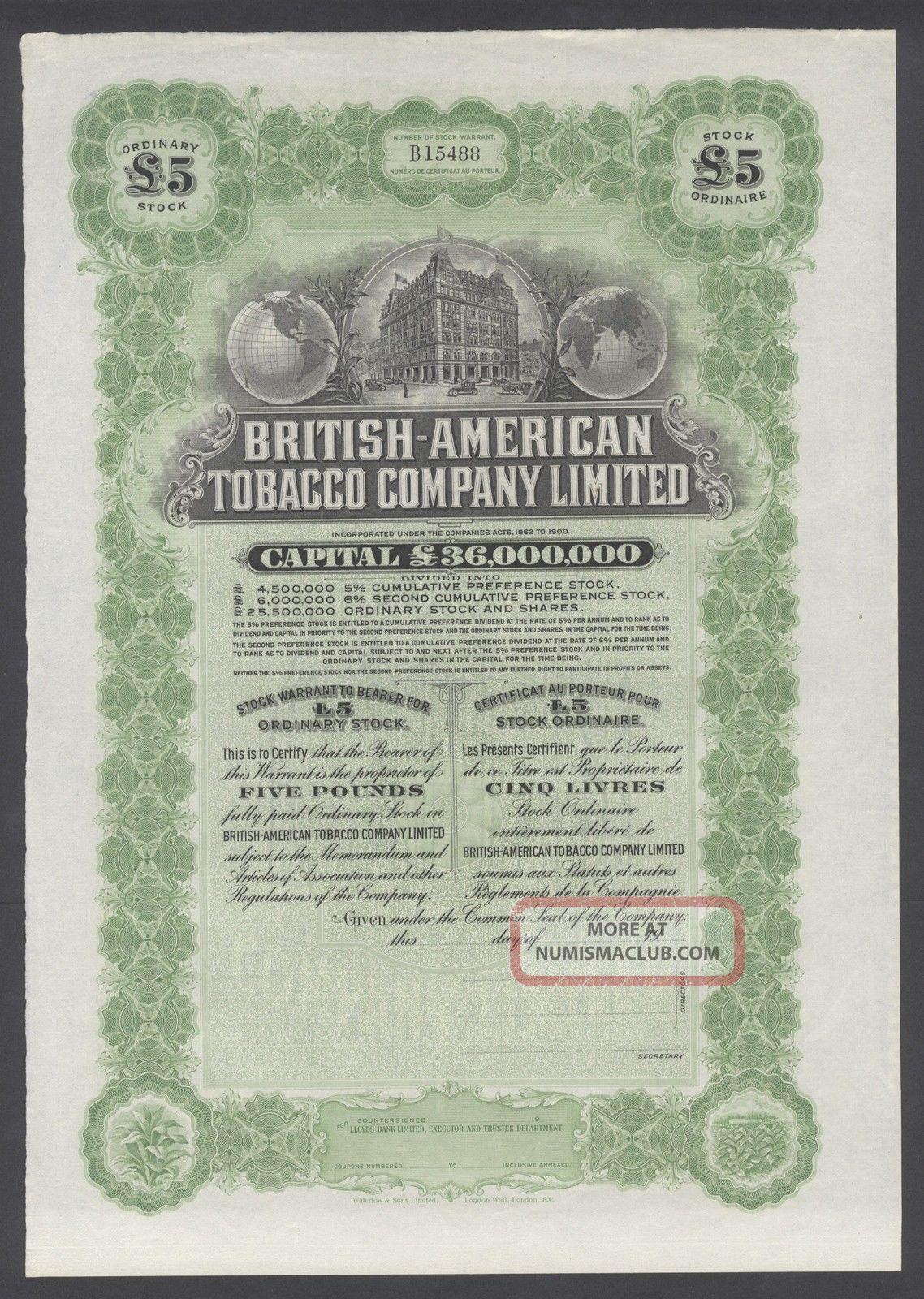 United States 1900s Uncirculated Ornate Bond British - American Tobacco Co.  R3332 World photo