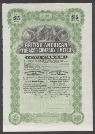United States 1900s Uncirculated Ornate Bond British - American Tobacco Co.  R3332 photo