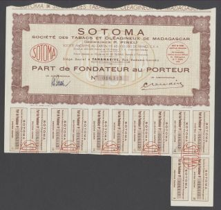 Madagascar 1949 Tobacco Bond With Coupons Sotoma Tabacs Et Oleagineux.  R3345 photo