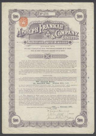Gb England 1921 Ornate Bond Certificate Adolph Frankau Co - Tabac Tobacco.  R4046 photo