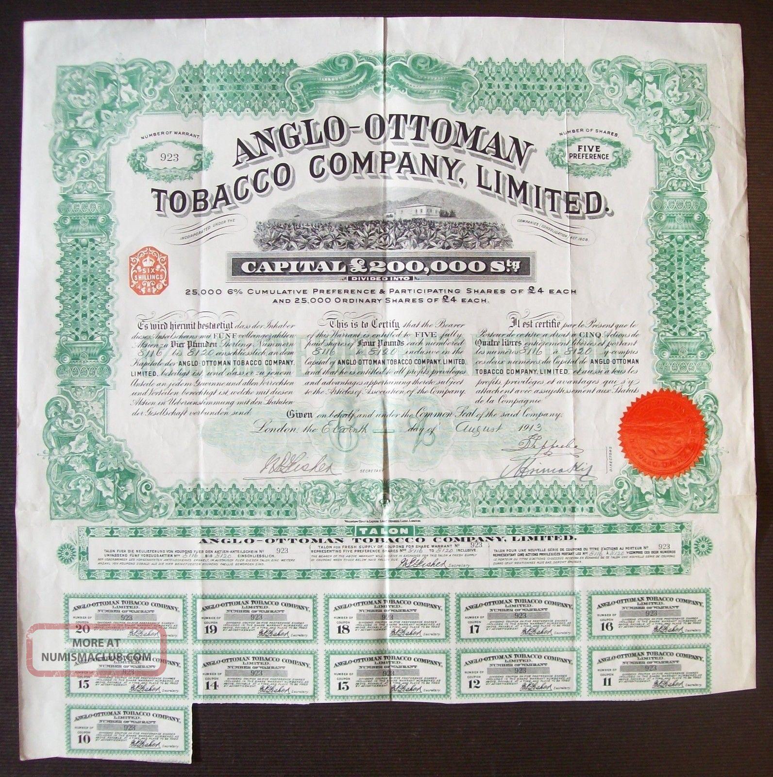 Gb England 1913 Illustrated Bond Anglo - Ottoman Tobacco Co.  Ltd - Tabac.  R4051 World photo
