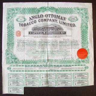 Gb England 1913 Illustrated Bond Anglo - Ottoman Tobacco Co.  Ltd - Tabac.  R4051 photo