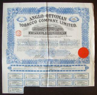 Gb England 1913 Illustrated Bond Anglo - Ottoman Tobacco Co.  Ltd - Tabac.  R4050 photo
