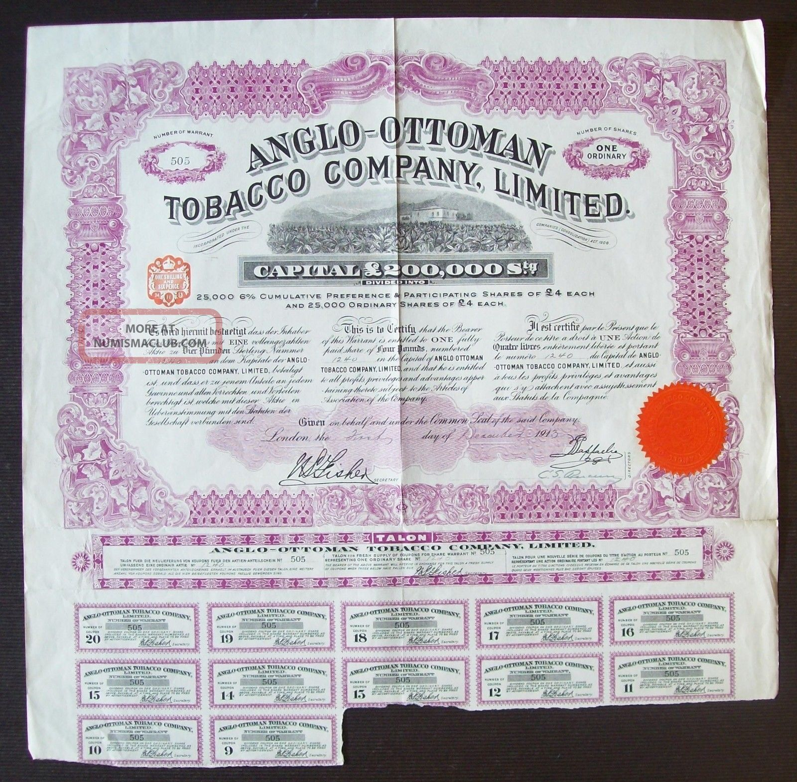 Gb England 1913 Illustrated Bond Anglo - Ottoman Tobacco Co.  Ltd - Tabac.  R4049 World photo