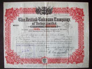 Gb England 1911 Illustrated Bond British Tobacco Co Of Turkey Ltd - Tabac.  R4057 photo