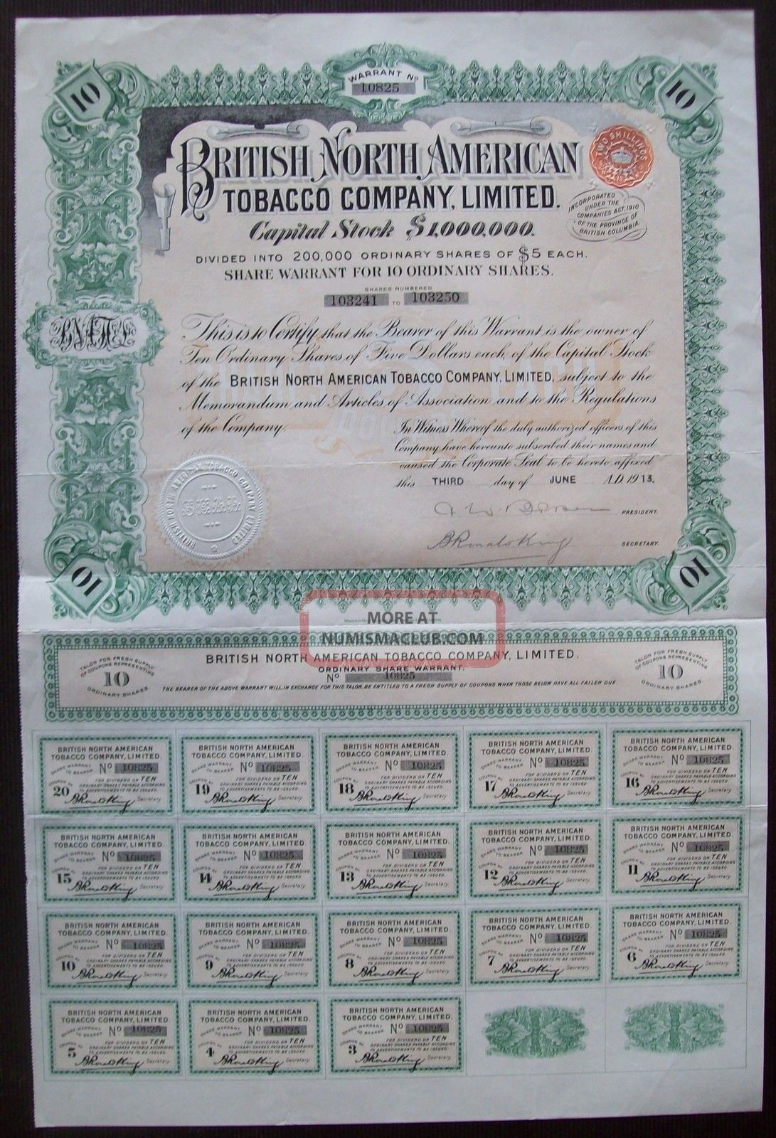Gb England 1911 Bond The British North American Tobacco Co Ltd - Tabac.  R4058 World photo