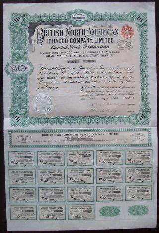 Gb England 1911 Bond The British North American Tobacco Co Ltd - Tabac.  R4058 photo