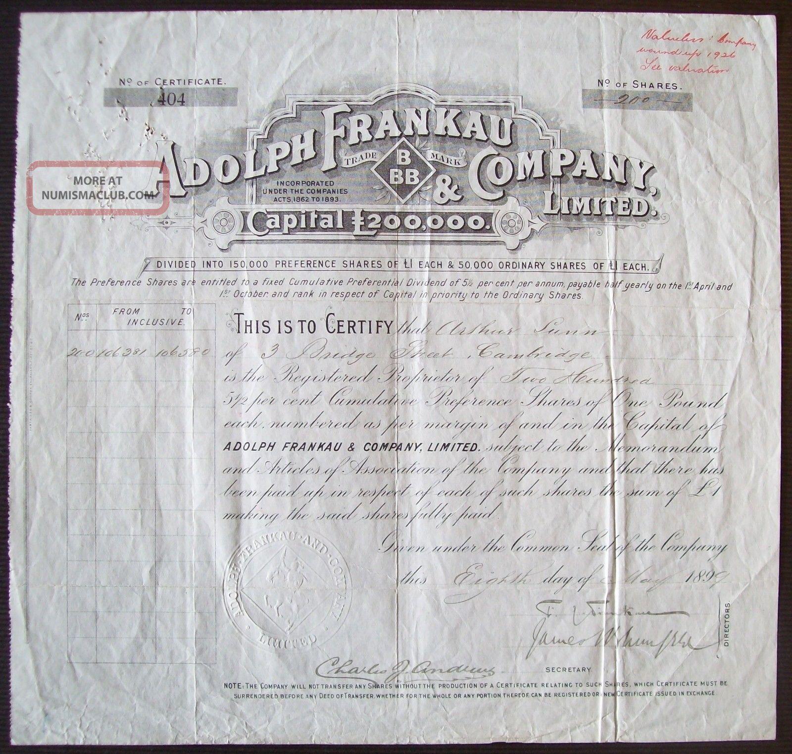 Gb England 1899 Bond Certificate Adolph Frankau Co - Tabac Tobacco. .  R4047 World photo