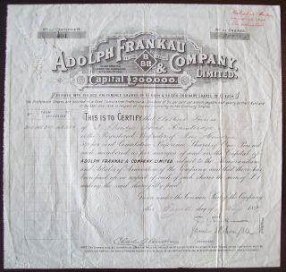 Gb England 1899 Bond Certificate Adolph Frankau Co - Tabac Tobacco. .  R4047 photo