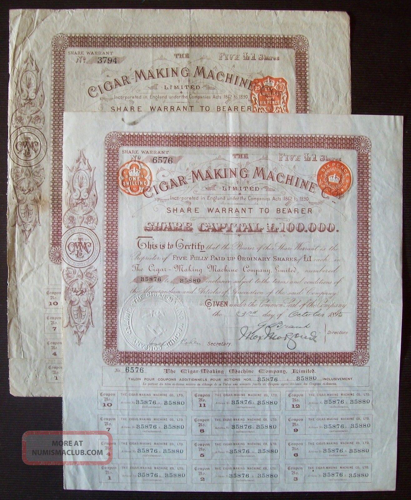 Gb England 1895 Bond Certificates Cigar Making Machine - Tobacco.  R4062 World photo