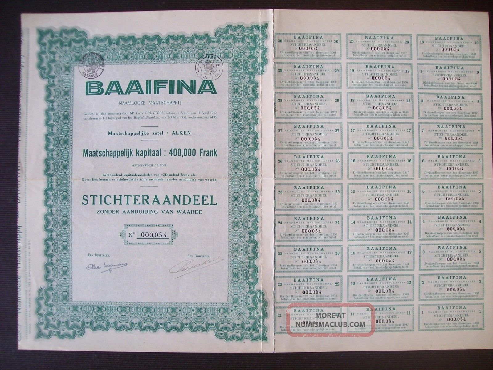 Belgium 1932 Bond With Coupons Baaifina Co.  Alken - Tabac Tobacco. .  R4036 World photo