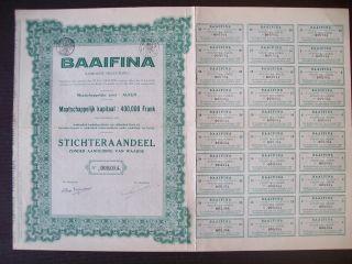 Belgium 1932 Bond With Coupons Baaifina Co.  Alken - Tabac Tobacco. .  R4036 photo