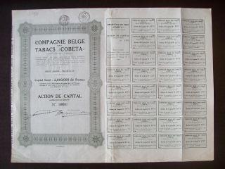 Belgium 1928 Bond With Coupons Cobeta Compagnie Belge Des Tabacs. .  R4042 photo