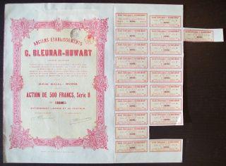 Belgium 1926 Bond With Coupons C.  Bleunar Huwart Sa.  Mons - Tabac Tobacco.  R4039 photo