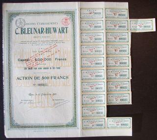 Belgium 1919 Bond With Coupons C.  Bleunar Huwart Sa.  Mons - Tabac Tobacco.  R4038 photo