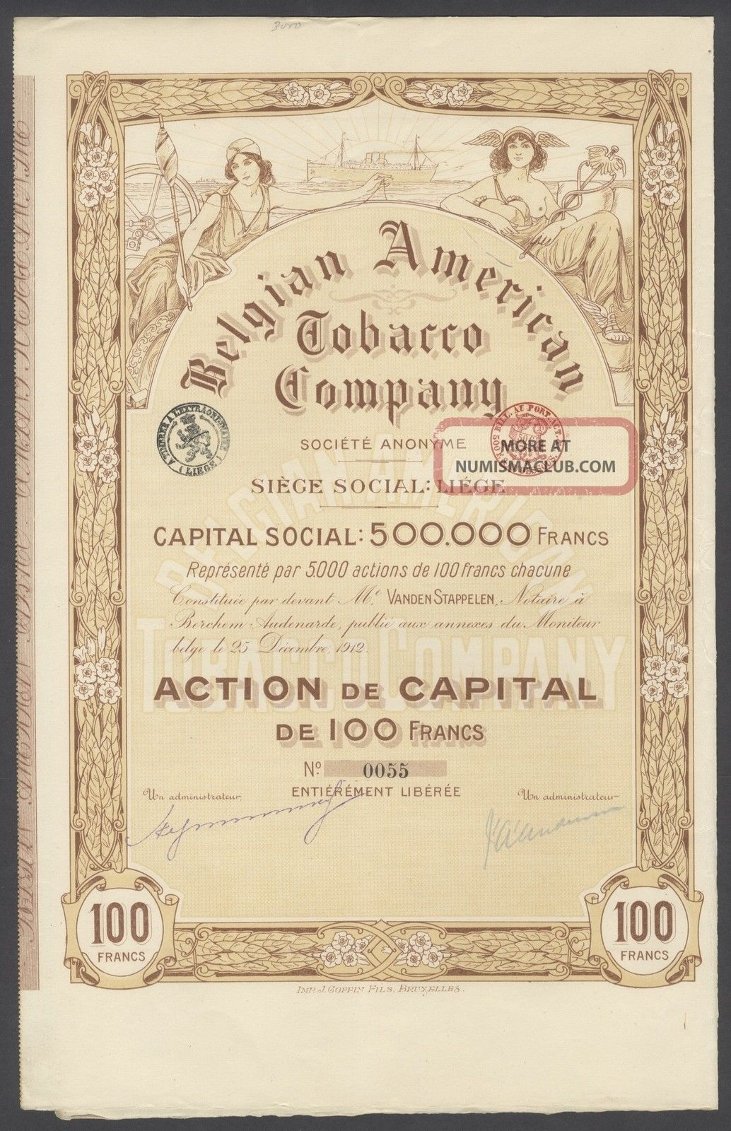 Belgium 1912 Illustrated Bond With Coupons Belgian American Tobaccco Co.  R4037 World photo